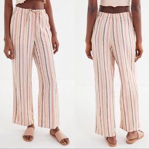 Urban Outfitters Chance Striped Linen Pull On Pant